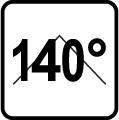 Uhol svietenie zdroja 140 stupňov