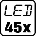 Počet LED čipov - 45x
